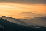 Fototapeta Fototapety na ścianę - The Carpathians Rarau Mountains Romania landscape springtime clouds sunrise beautiful view