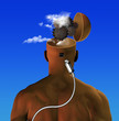 Leinwandbild Motiv Man with cogwheels in head. Plug and USB cable