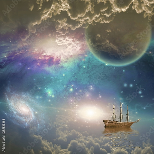 Fotografía  Sailing ship with full sails in fantastic space scene
