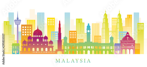 Fotografía Malaysia Skyline Landmarks Colorful Silhouette Background