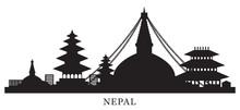 Nepal Skyline Landmarks Silhou...