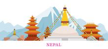 Nepal Skyline Landmarks In Flat Style