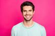 Leinwandbild Motiv Close up photo of brunette amazing macho guy revealing perfect white teeth wear casual t-shirt isolated vibrant pink color background