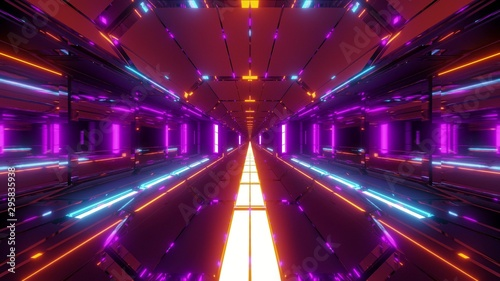 futuristic scifi tunnel corridor with nice glowing lights 3d illustration wallpa Canvas-taulu