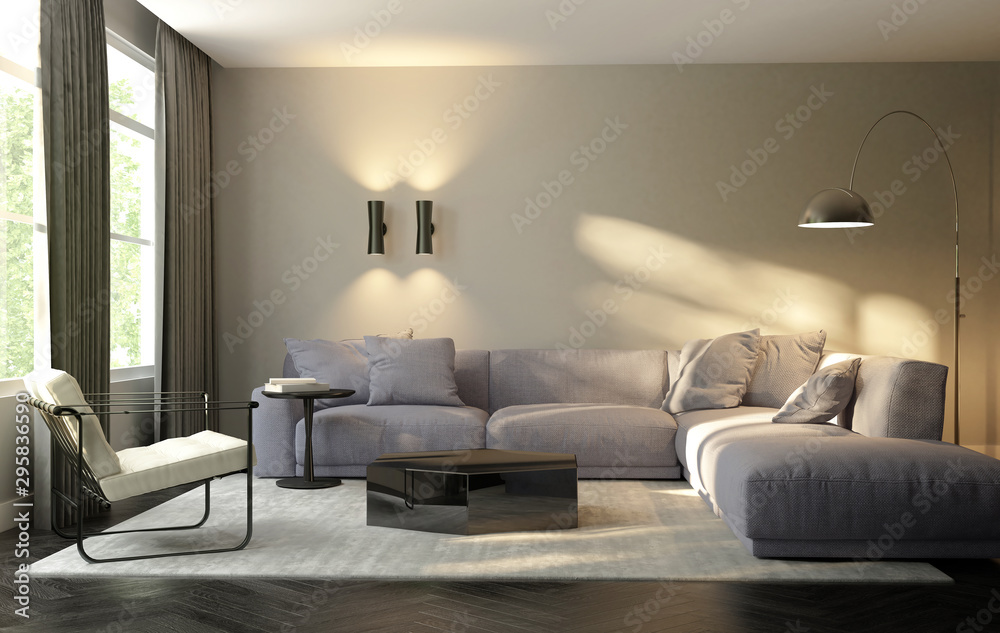 Fototapety, obrazy: Contemporary modern living room with design furniture