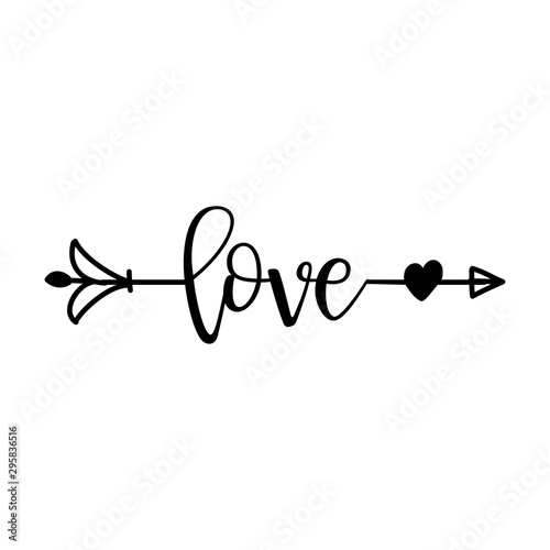 'love' in boho arrow - lovely lettering calligraphy quote Canvas Print