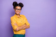 Leinwanddruck Bild - Photo of amazing dark skin lady holding arms crossed positive mood bossy self-confident look wear specs yellow shirt isolated purple color background