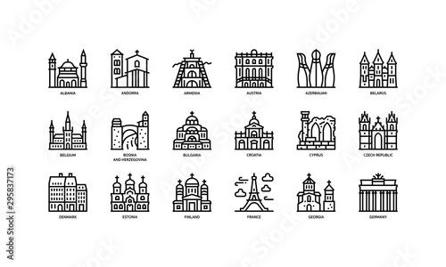 Fotografia European cities landmarks icons set