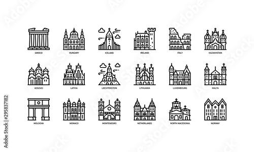 Fototapeta European cities landmarks icons set obraz