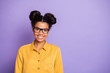 Leinwanddruck Bild - Closeup photo of amazing business dark skin lady beaming smiling ready for studying process wear specs yellow shirt isolated purple color background