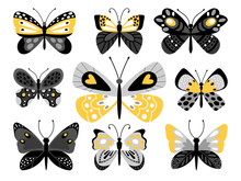 Butterflies Vector Color Illustrations Set. Tropical Insects With Yellow Ornaments On Wings Isolated Bundle On White Background. Exotic Bugs Cliparts. Butterflies Scrapbooking Decor Elements