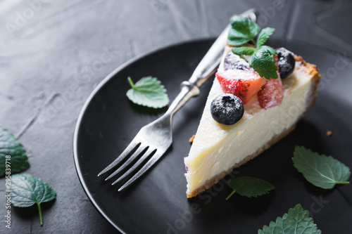 Cheesecake with Fresh Berries and Mint Wallpaper Mural