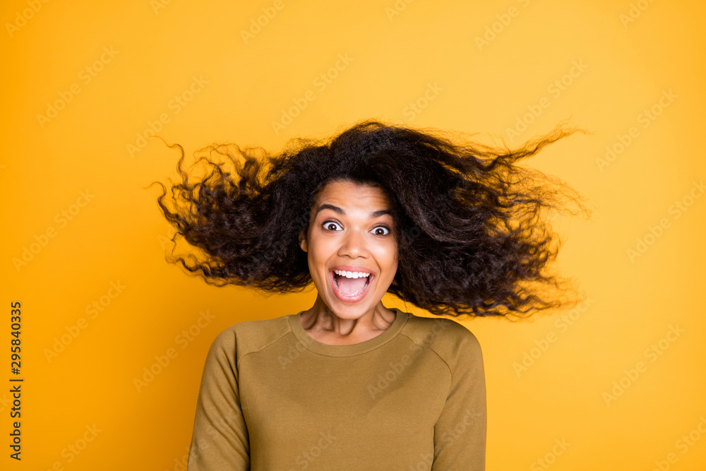 Fototapety, obrazy: Closeup photo of amazing pretty dark skin lady overjoyed warm fall breeze throwing hairdo up air wear casual pullover isolated on yellow color background