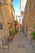 Province of Salerno, Italy, 10/21/2017. A narrow road between the old houses of a rural village.