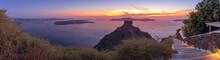 Sunset Overlooking The Caldera And The Sea In Santorini.
