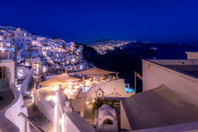 The Capital Of The Island Of Santorini Thira At Night.