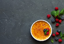Creme Brulee. Dessert With Car...