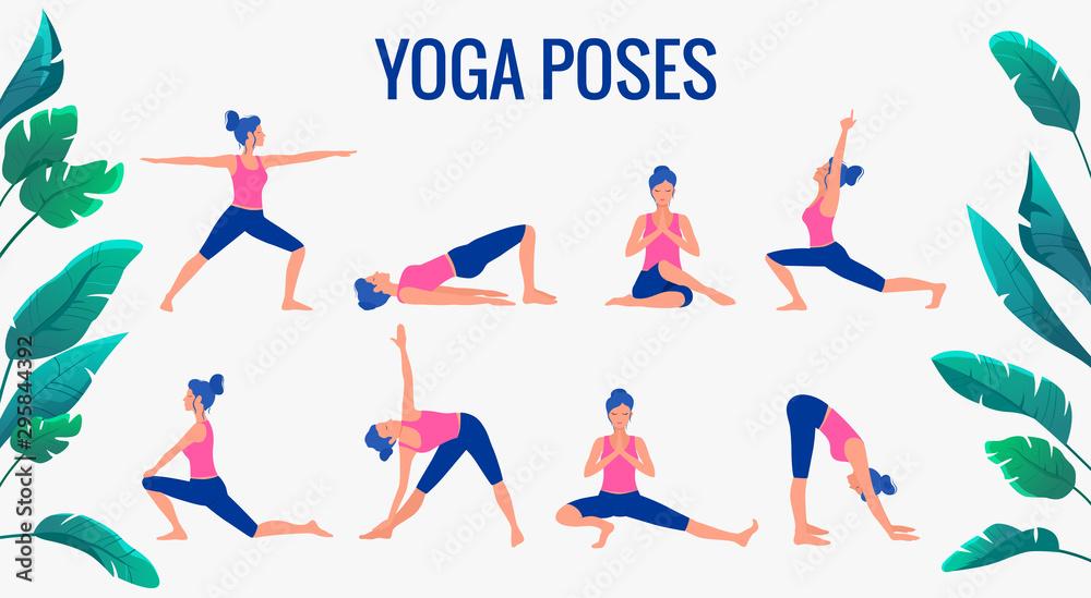 Fototapety, obrazy: Various yoga poses set. Female yoga vector illustration. Healthy lifestyle.
