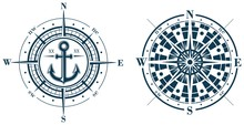 Set Of Compass Roses Or Wind R...