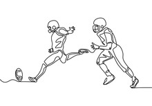 American Football Game Continuous One Line Drawing. Vector Illustration Of Sportsman During The Match.