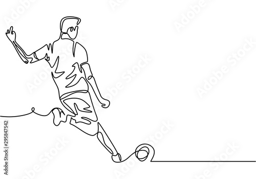 Continuous one line drawing of football player kick a ball during the game sport Tablou Canvas