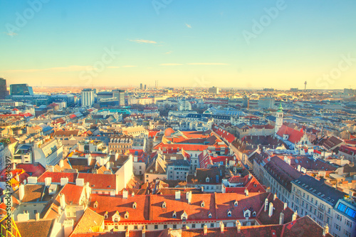 Panoramic view to Stephansplatz and Vienna center, a lot of orange tile roofs Canvas Print