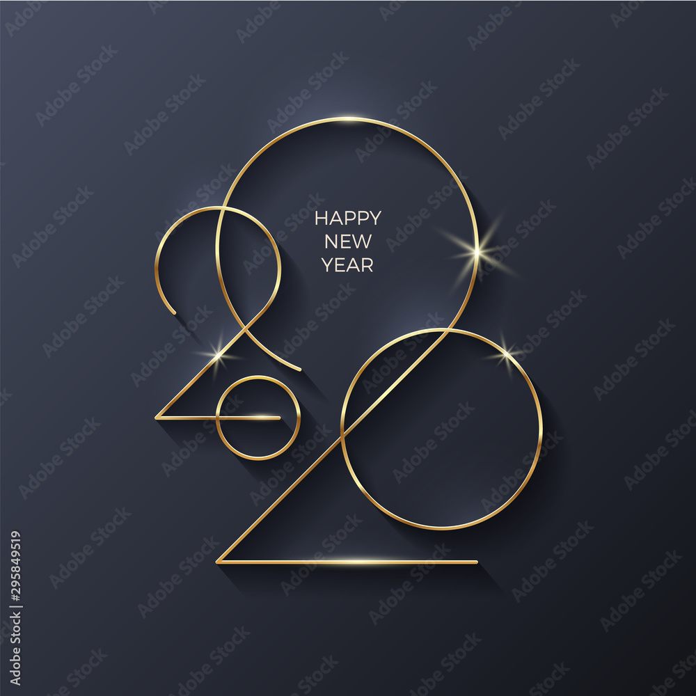 Fototapety, obrazy: Golden 2020 New Year logo. Holiday greeting card. Vector illustration. Holiday design for greeting card, invitation, calendar, etc.