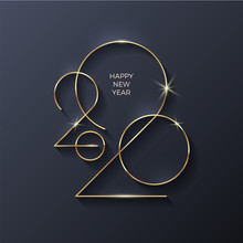 Golden 2020 New Year Logo. Hol...