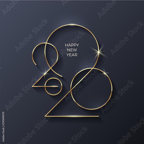 Fototapeta Golden 2020 New Year logo. Holiday greeting card. Vector illustration. Holiday design for greeting card, invitation, calendar, etc. obraz