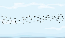 Flock Of Flying Birds Vector I...