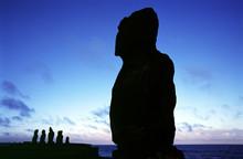 Silhouette Of Ahu Tahai And Vai Uri