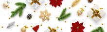 Christmas Banner. Background Xmas Objects Viewed From Above, Realistic Decorative Design Elements. Merry Christmas And Happy New Year. Horizontal Poster, Website Header, Flat Top View.