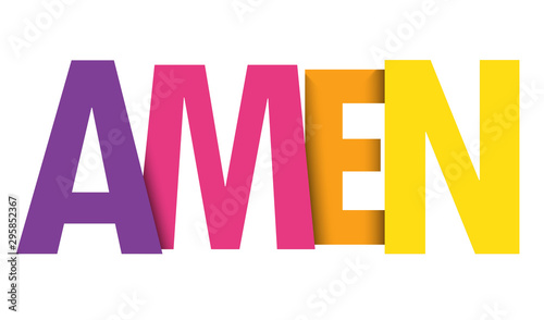 AMEN colorful gradient vector typography banner Canvas Print