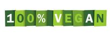 100% VEGAN Green Vector Typogr...