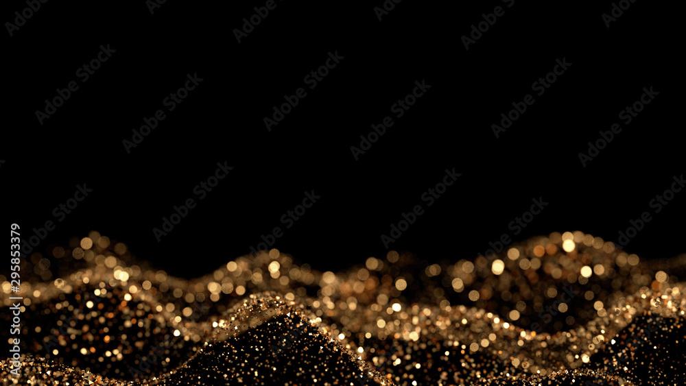 Fototapeta Luxury glitter background. 3d illustration, 3d rendering.
