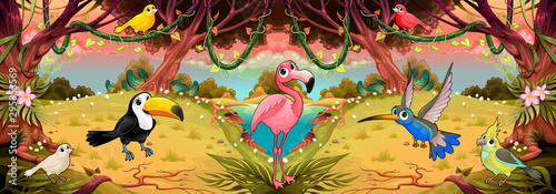Poster Kinderkamer Family of cartoon birds in the jungle