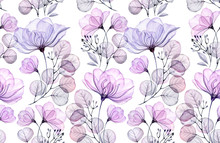 Transparent Rose Watercolor Seamless Pattern. Hand Drawn Floral Illustration With Bog Violet Flowers And Buds For Wedding Design, Surface, Textile, Wallpaper