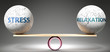 Leinwandbild Motiv Stress and relaxation in balance - pictured as balanced balls on scale that symbolize harmony and equity between Stress and relaxation that is good and beneficial., 3d illustration