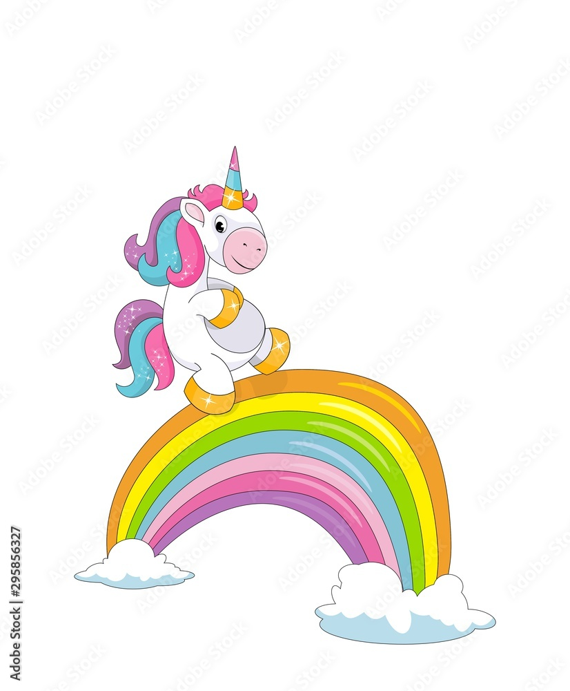 Cute little smiling unicorn, clouds and a rainbow bridge isolated on white