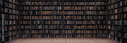 Photo Bookshelves in the library with old books 3d render 3d illustration
