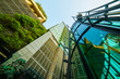 canvas print picture - Low angle shot of modern glass buildings