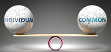 Individual And Common In Balance - Pictured As Balanced Balls On Scale That Symbolize Harmony And Equity Between Individual And Common That Is Good And Beneficial., 3d Illustration