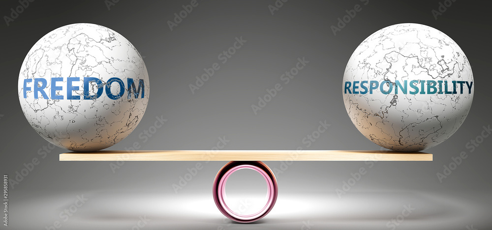 Fototapeta Freedom and responsibility in balance - pictured as balanced balls on scale that symbolize harmony and equity between Freedom and responsibility that is good and beneficial., 3d illustration