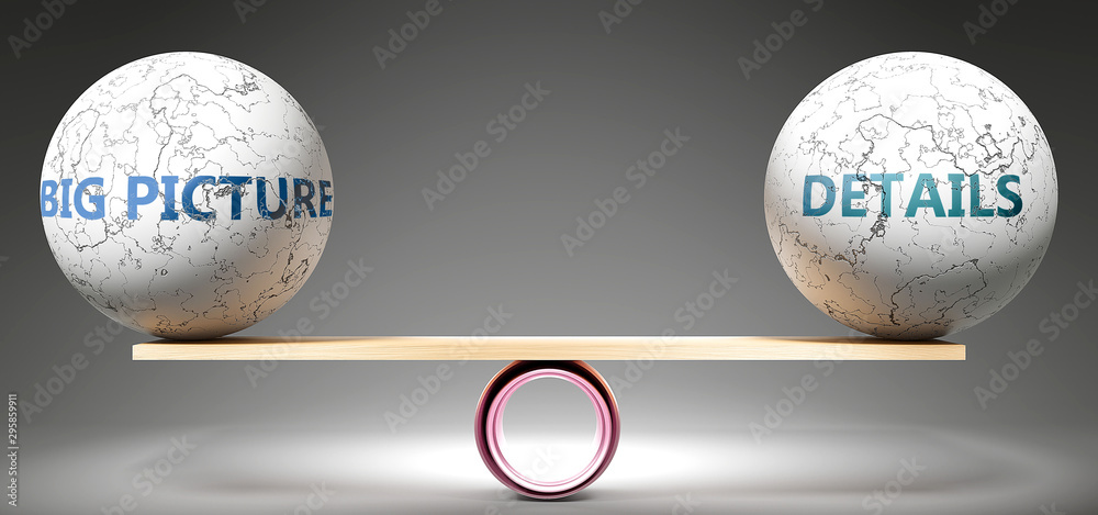 Fototapety, obrazy: Big picture and details in balance - pictured as balanced balls on scale that symbolize harmony and equity between Big picture and details that is good and beneficial., 3d illustration