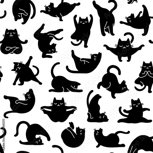 obraz lub plakat Cartoon Doodle Comic Vector Seamless Tileable Pattern And Background Of Zen Meditating Black Cats In Yoga Pose and Asana, Namaste