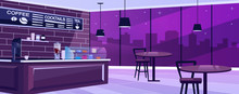 Coffee Shop At Night Flat Vector Illustration. Spacious Urban Bar Hall With Vintage Furniture. Panoramic Windows Facing Evening Skyline. Cartoon Cafeteria Interior With Professional Equipment