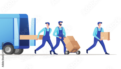 Obraz Delivery service and logistics. Movers unloading cardboard boxes from van. Vector illustration. - fototapety do salonu