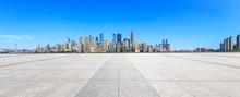 Empty Floor And Modern City Fi...