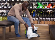 African American Fitting New Ski Boots