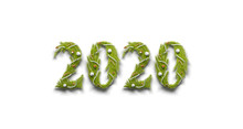 Decorative 2020 Numbers Isolated, New Year Font On White